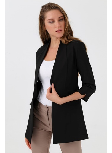 Jument Hakim Yaka Flato Cepli Uzun Yırtmaçlı Kol Blazer Ofis Ceket Siyah